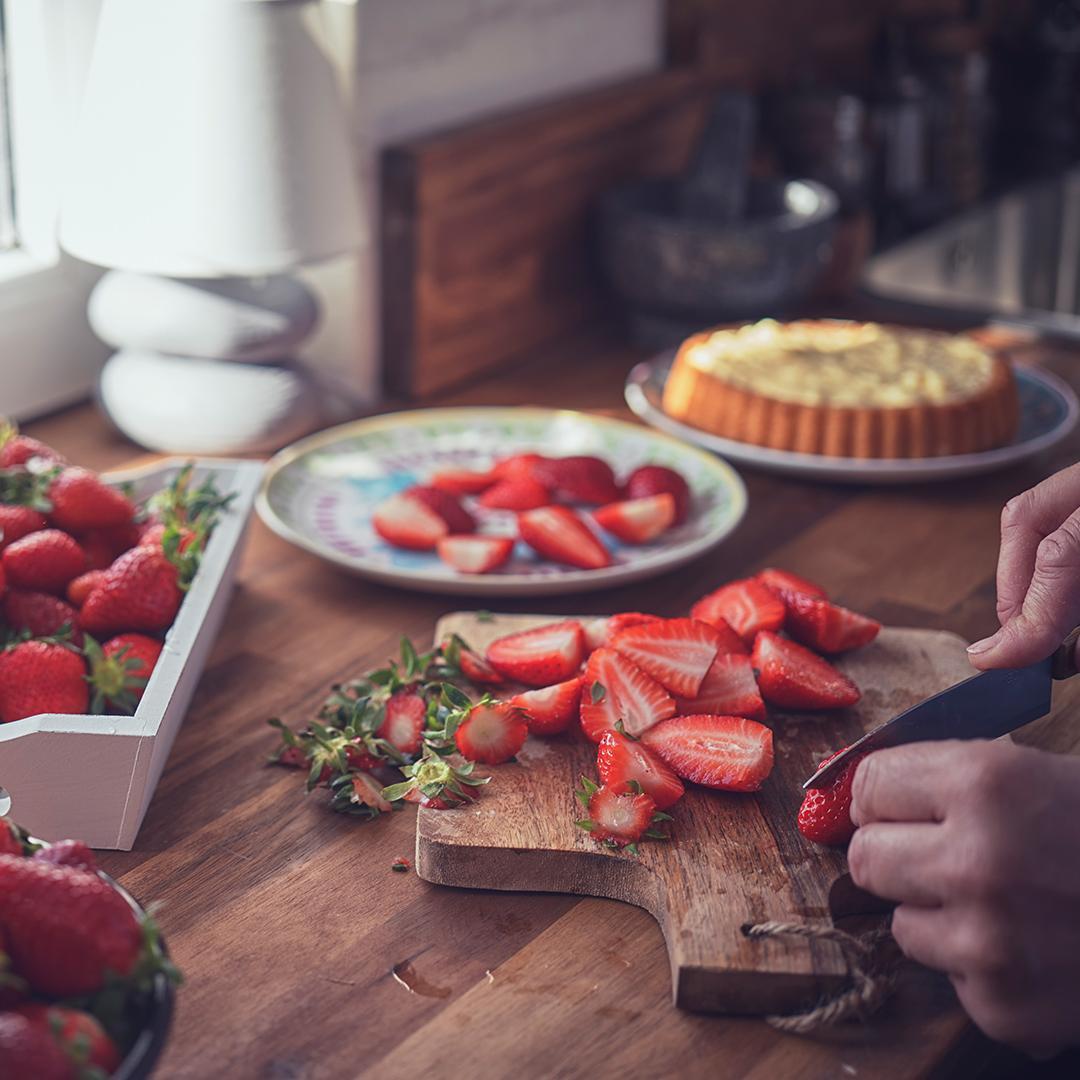 fraises, dessert, cuisiner en famille